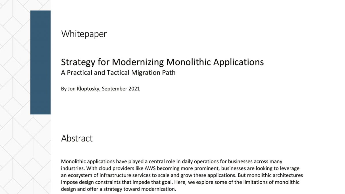 Whitepaper - Strategy for Modernizing Monolithic Applications